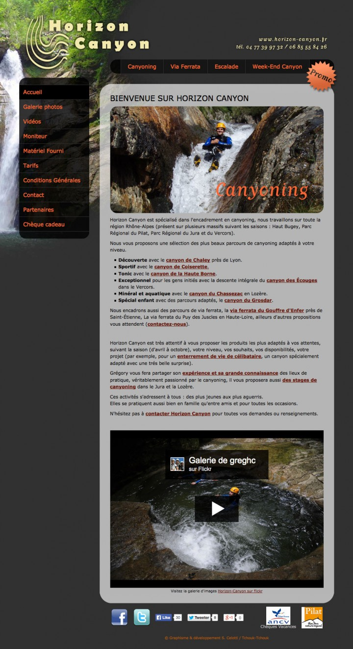 Site web horizon-canyon.fr, graphisme, developpement, web