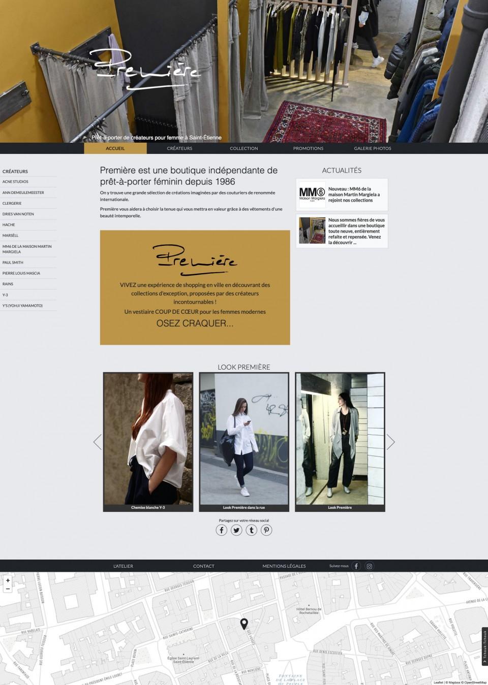 Boutique Première – site vitrine, graphisme, developpement, web