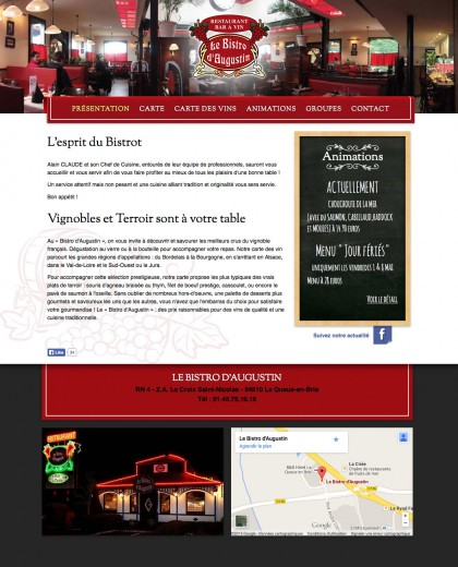 Site bistro-daugustin.com, developpement, web