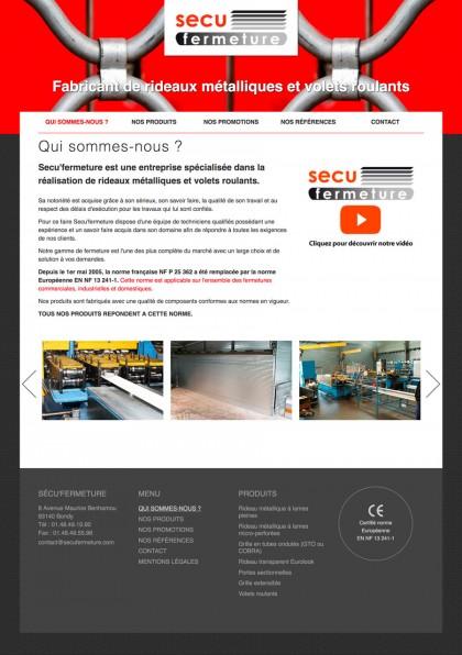 Site web Sécu'Fermeture, developpement, web
