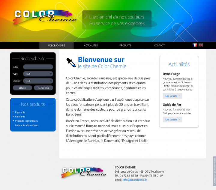 Site colorchemie.fr, developpement, web