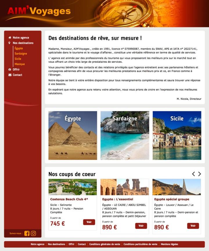Site aimvoyages.fr, developpement, web