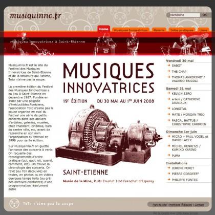 Site web musiquinno.fr, graphisme, developpement, web