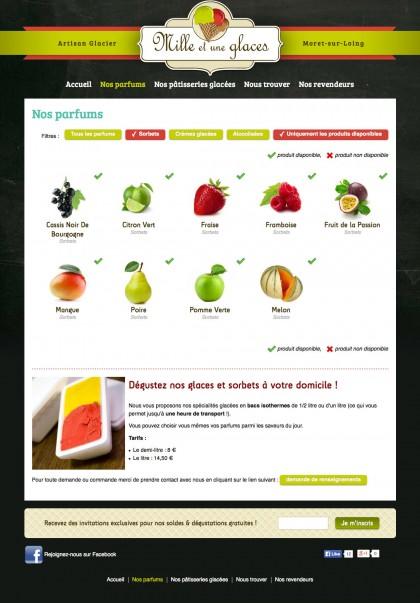 Site 1001glaces.fr , developpement, web