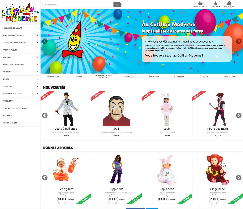 web, graphisme, développement, Refonte boutique web Au Cotillon Moderne, Tchouk-Tchouk créations graphiques et sites web, Saint-Etienne