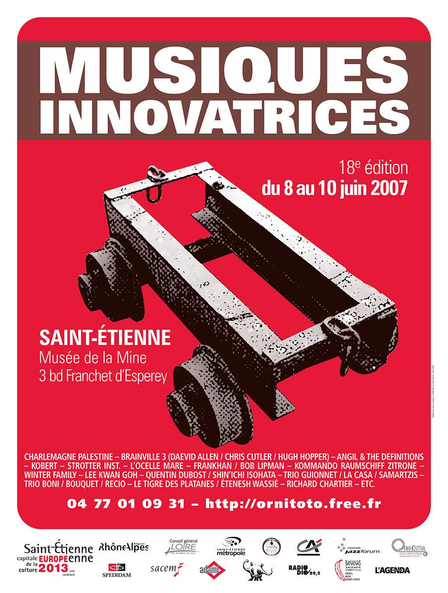 print, graphisme, Affiche du Festival Musiques Innovatrices 2007, Tchouk-Tchouk prestation web