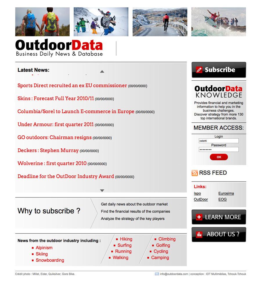 web, développement, Site OutdoorData.com, Tchouk-Tchouk créations graphiques et sites web, Saint-Etienne